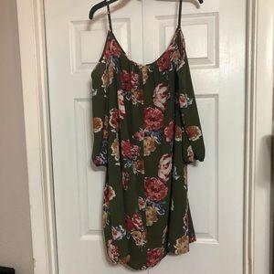 Dark Green Floral Off the Shoulder Dress - 1X